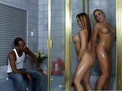 Voluptuous Caucasian sluts Katja and Heidi going kinky in the bathtub taunting black dude