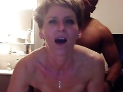 Cougar has anal orgasm from young black knob