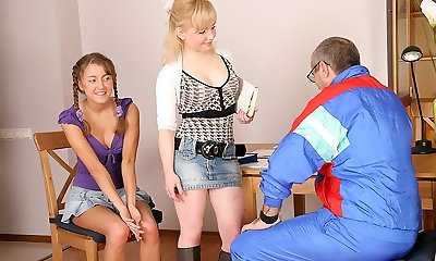 TrickyOldTeacher - Two hot coeds get naked and give mature schoolteacher threesome and throating