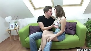 Banging his busty girlfriend on the bed