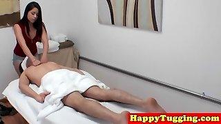 Asian masseuse caught on voyeur jerking client