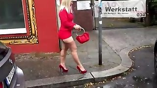 In the Car with Malene in FF stocking mini miniskirt High Heels