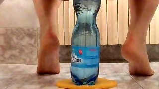 extreme rump insertion with 2 plastic bottles