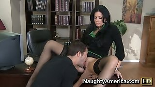 She is the boss romping her employee and sucking his dick at the working lot