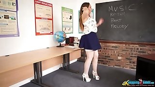 Pervy schoolteacher Sophia Delane shows her ass and juicy pussy