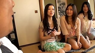 Busty Housewifes Squad Up On One Guy And Fap Him Off