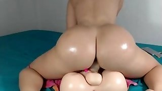 Sexiest milky girl ever bouncing on her dildo