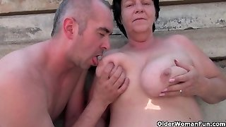 Ugly grannie with 1 inch nipples screwed outdoors