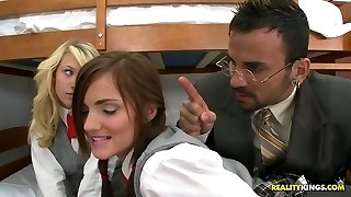 Scanty students Teagan Summers and Lily Carter give dual blowjob to their teacher