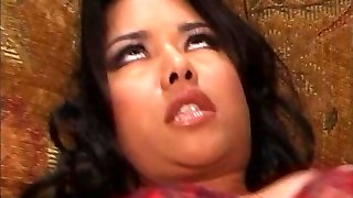 Ravishing young Latin fuck mega-bitch welcomes white knob up her crapper on the couch