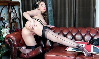 Natural big tits brunette Sophia Delane wanks in nylon high-heeled shoes