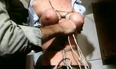 Strung up - vintage bondage bra-stuffers bound tight