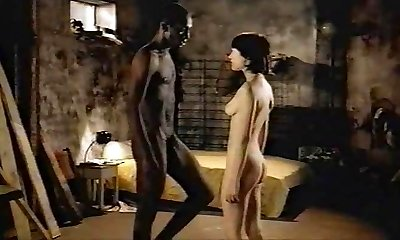 Brunette white nymph with black lover - Softcore Interracial