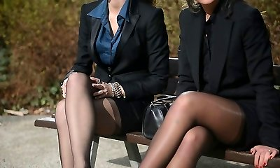 2 youthfull sexy secretaries in vintage pantyhose & garterbelt