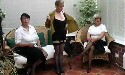 Vintage Stripping from trio Mature Village Ladies
