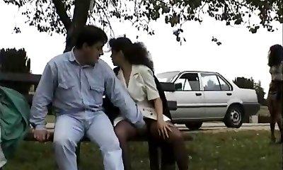 Vintage tweak of Babes enjoying flashing public hump