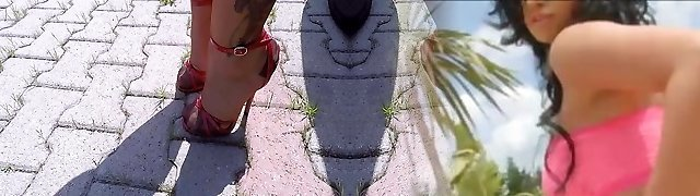 High Heels Crimson Sandals And Copper Nylon Pantyhose