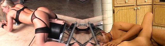 Machine fucked super hot sex slave spunking hard