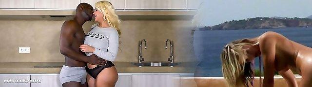 Mega big-boobed super-bitch Blondie Fesser involved in interracial banging