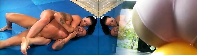 hot muscle girl hammers guy in grappling then blows him