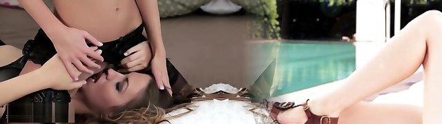 Strap Dildo Passionate and romantic girly-girl strapon penetration sex scene