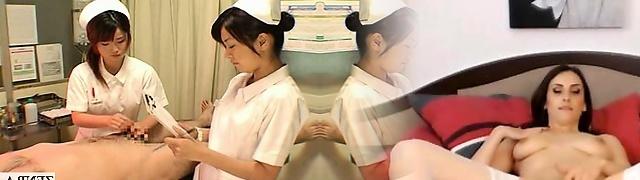 Subtitled CFNM Japanese nurses hospital handjob cum shot