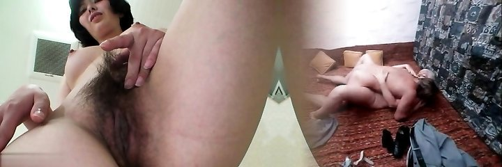 Hairy mature piss and jizz flow
