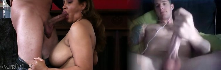 Plump Brazilian mommy with huge tits Kira B swallows rock hard dick of her stud ardently