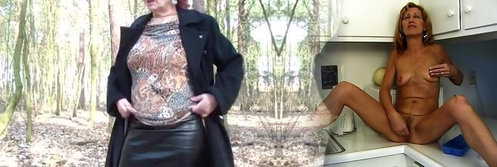 Mature lifts skirt in the forest