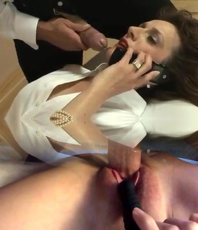British Milf Plays With A Cock While On The Phone