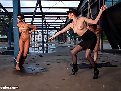 Maitresse Madeline and Lorelei Lee travel to the Czech Republic to test and recruit slutty slave girls to bring back to the U.S.A.  The whores want desperately to escape their arduous lives but it turns out that they don't know the meaning of suffering!  Madeline tests their endurance and discipline through a series of military style sex drills.  She subjects them to floggers, whips and canes, fucks their asses and pussy's with a strap-on and makes them piss all over themselves in fear. They lick each others filthy cunts and assholes and try to be obedient. The girls even learn some American phrases: