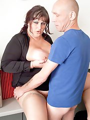 Hot young fattie in lovely clothes spreads for her boss after a promise of a bonus