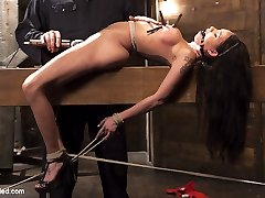 Raven finds herself at the hands of a sick fuck who has his way with her. She is bound tightly and tormented until her captor decides to let this slut cum.