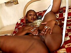 Ebony Ms Cleo spreading her juicy black snatch and gets cock plugged in her wet slit