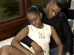 Black babe Diane gets her panty taken off and fucked right there on the sofa