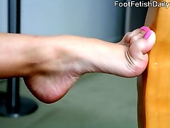 Missy Stone has super ticklish soles. And real-life former cop Jack Lawrence is going to work them good. By the time he's done tickling and sucking those sexy size 7 feet, she's going to be begging him to do more. Those big, beautiful eyes of hers open wide as he gives her orgasms with his tongue, fingers and thick cock. Missy even wraps her deep arches around Jack's meat and uses her tiny, skinny toes to drive him mad. He drops a load into her mouth which she obediently swallows for the officer.