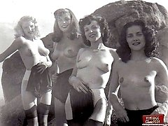 Sixties beach babes posing