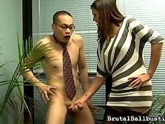 Cece Stone, our sexy office manager, has received countless complaints about one of her employees. He's been caught jerking his tiny cock around the office, more than once.