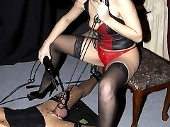 Mistress Lydia hot wax and cock milking
