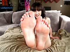 Katie is annoyed with the construction going on at her house. Her boyfriend tried to take her mind off it with a gentle foot massage. With Katie that always leads to more. So she gives him a footjob with her perfect petite feet, and fucks him until he cums all over her young toes.