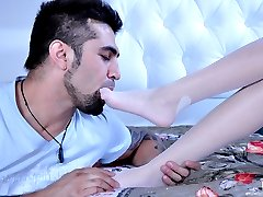 Asian beauty teases and milks a stud with her small feet in white FF tights