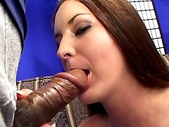 Hot brunette gets her furry pussy wet with jizz