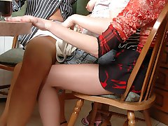 Hot lesbian gals cant miss the opportunity to try out pantyhose group sex
