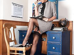 Natalia takes a call from a client who remembers her sheer black full fashion nylons and...