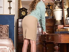 Brook is excited about her fabulous outline heels and black seam vintage fully fashioned nylons.