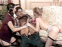 Retro ladies in threesome