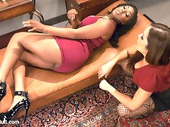 Francesca Le has a client with an extreme anal addiction. Lisa Tiffian can not get enough anal stimulation and it's causing her some embarrassment when she can not control her anal addiction in public places. Francesca Le is going to use an unorthodox approach to curing Lisa's addiction. She will over stimulate Lisa's ass with giant toys. When the toys prove useless, Francesca pushes her bronzed fist deep into the ebony asshole. Then Francesa Fucks milky white cum out of Lisa's asshole with a huge Strapon. This is Lisa's first taste of a fist in the ass and a huge strap on fucking white milky cum out of her asshole.