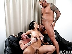 Ricki White fills all of her holes with huge cocks