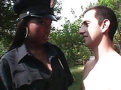 Ebony police officer girl fucking white dick
