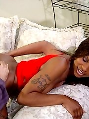 Sexy ebony babe muff dives mature guy on couch